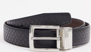Read more about French connection diamond emboss prong buckle belt in black leather
