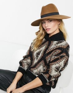 Read more about French connection fedora hat in brown with black band