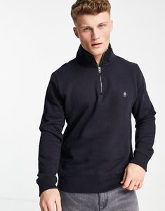 Read more about French connection funnel neck half zip sweatshirt in navy-blue