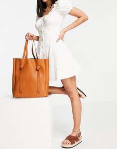 Read more about French connection knot strap tote bag in tan-brown
