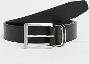 Read more about French connection leather inlay keeper belt in black
