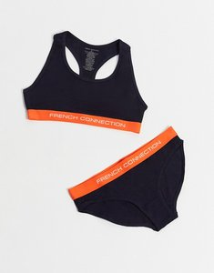 Read more about French connection logo bra and brief set in navy