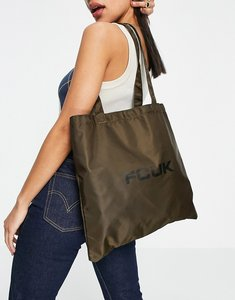 Read more about French connection logo tote bag in khaki-green