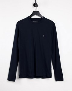 Read more about French connection long sleeve top with logo in navy-blue