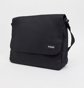 Read more about French connection nylon fcuk logo messenger bag in black