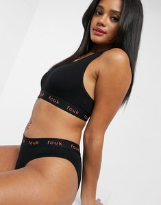 Read more about French connection plain fcuk crop top and brief set in black
