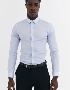 Read more about French connection plain stretch skinny fit shirt-blue