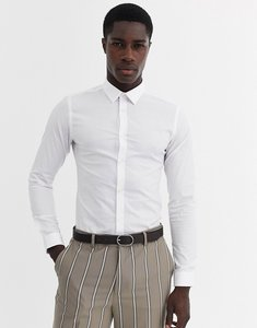 Read more about French connection plain stretch skinny fit shirt-white