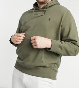 Read more about French connection plus overhead hoodie with logo in khaki-green