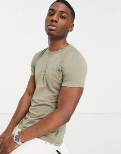 Read more about French connection pocket t-shirt in light khaki-green