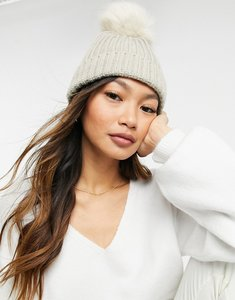 Read more about French connection rib pom pom beanie in light oatmeal-white
