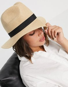Read more about French connection ribbon sun hat in natural and black-multi