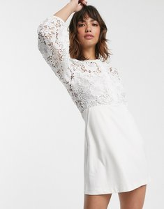 Read more about French connection round neck button down lace mini dress in summer white