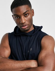 Read more about French connection sleeveless hoodie in navy-blue