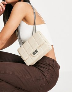 Read more about French connection square quilted shoulder bag in classic cream-white