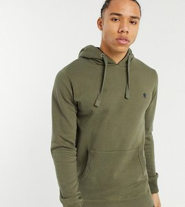 Read more about French connection tall overhead hoodie in khaki with logo-green