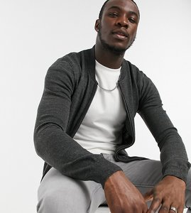 Read more about French connection tall soft touch knitted zip thru bomber in dark grey