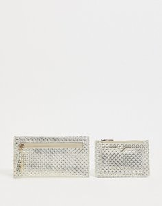 Read more about French connection textured metallic glitter purse and cardholder set in gold geo
