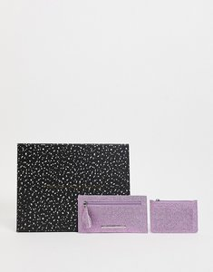 Read more about French connection textured metallic glitter purse and cardholder set in pink