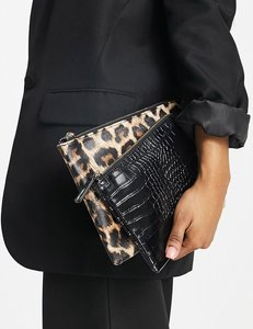 Read more about French connection two pouch bag in black animal print
