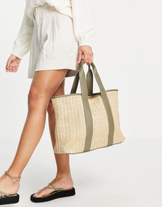 Read more about French connection woven beach tote bag in natural and sage green-multi