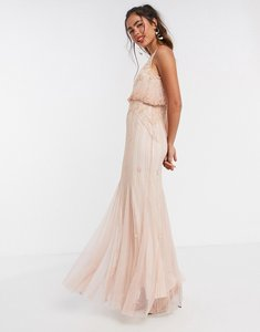 Read more about Frock and frill overlay embellished maxi dress with fishtail in pink