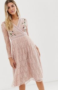 Read more about Frock and frill prairie lace midi dress with embroidered wrap front in soft rose-pink