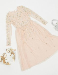 Read more about Frock frill embellished long sleeve midi dress in blush-pink