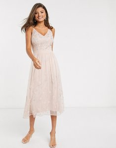 Read more about Frock frill embellished maxi dress in pink