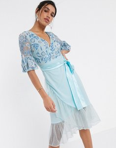 Read more about Frock frill fluted sleeve embellished midi dress in blue