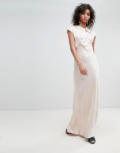 Read more about Ghost bridesmaid capped sleeve satin maxi dress with knot front-cream