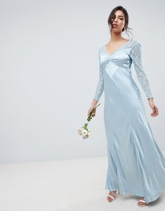 Read more about Ghost bridesmaid maxi dress with lace sleeves-blue