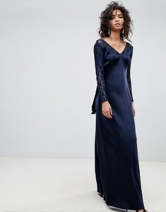 Read more about Ghost long sleeve maxi dress with lace bodice bow back-blue