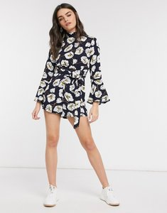 Read more about Girl in mind flute neck playsuit in flower-multi
