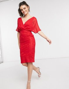 Read more about Girl in mind lace batwing midi dress in red