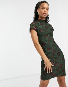 Read more about Girl in mind lace detail mini dress in green