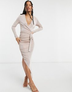 Read more about Girl in mind long sleeve wrap dress in pink