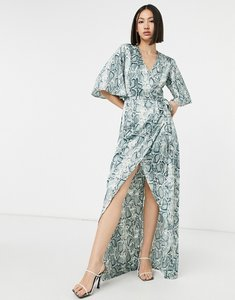 Read more about Girl in mind split leg maxi dress in snake-multi