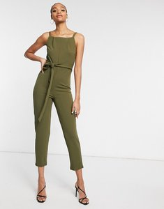 Read more about Girl in mind tie front jumpsuit in khaki-green