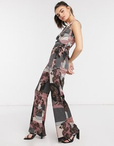 Read more about Girl in mind tie waist flared jumpsuit in paisley-multi