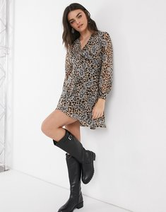 Read more about Girl in mind wrap skater dress in animal-multi