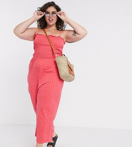 Read more about Glamorous curve wide leg jumpsuit with shirred bodice in ditsy strawberry-pink