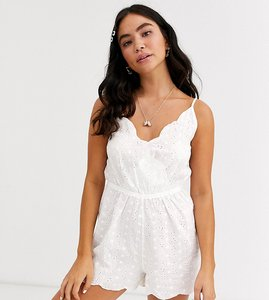 Read more about Glamorous exclusive broderie beach playsuit in white