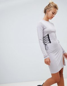 Read more about Glamorous long sleeve dress with lace up detail-grey