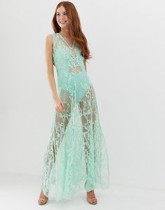 Read more about Glamorous maxi dress with sheer overlay and floral embroidery-blue