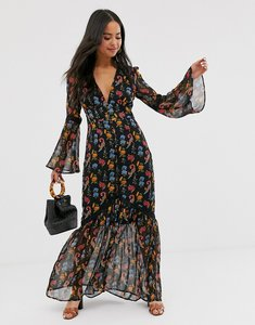 Read more about Glamorous plunge front maxi dress in wild floral-black