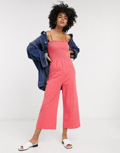 Read more about Glamorous wide leg jumpsuit with shirred bodice in ditsy strawberry-pink