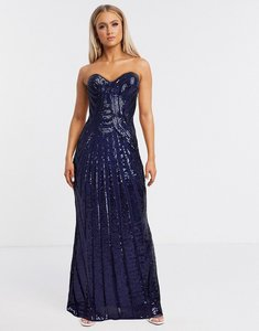 Read more about Goddiva bandeau embellished maxi dress with thigh split in navy
