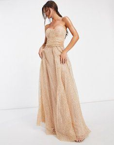Read more about Goddiva bandeau embellished mesh maxi dress in champagne-gold