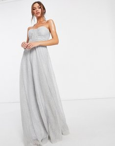 Read more about Goddiva bandeau embellished mesh maxi dress in grey